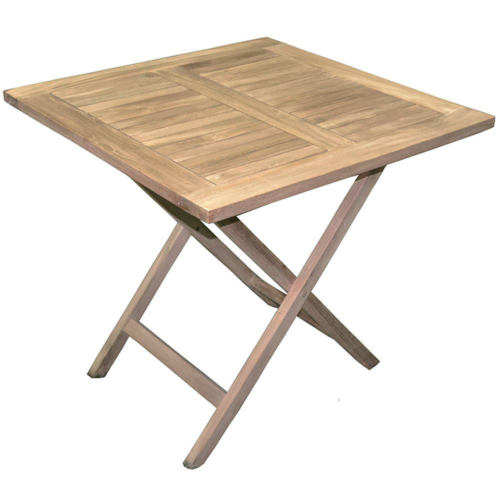 Pegane Table de jardin pliante forme carrée en bois teck - Dim : 80 x 80 cm