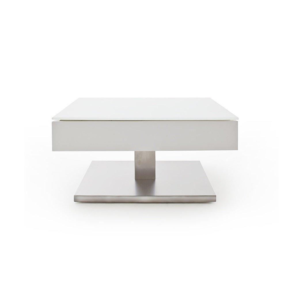 Inside 75 Table basse MARSEILLE laquée blanc mat plateau en verre trempé blanc mat
