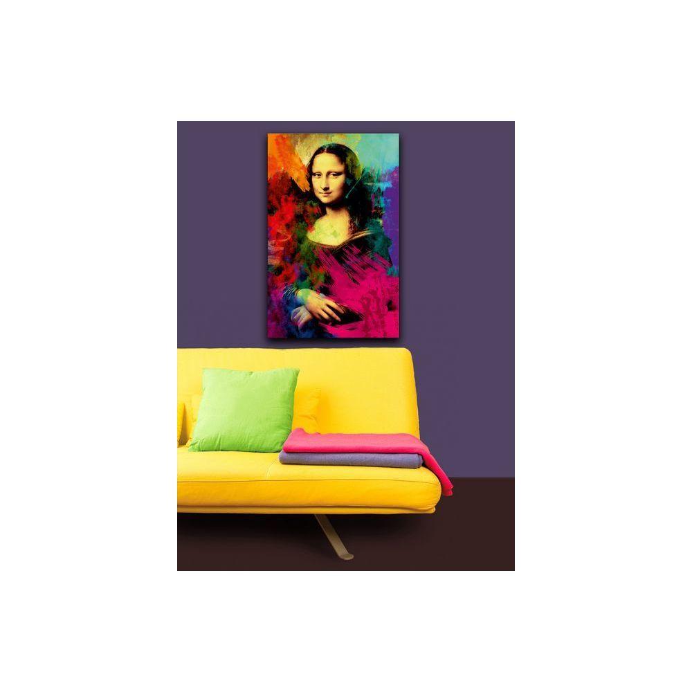 Homemania HOMEMANIA Tableau Murale - Gioconda avec des Taches de Couleur - pour Séjour, Chambre - Multicolore, 45 x 3 x 70 cm