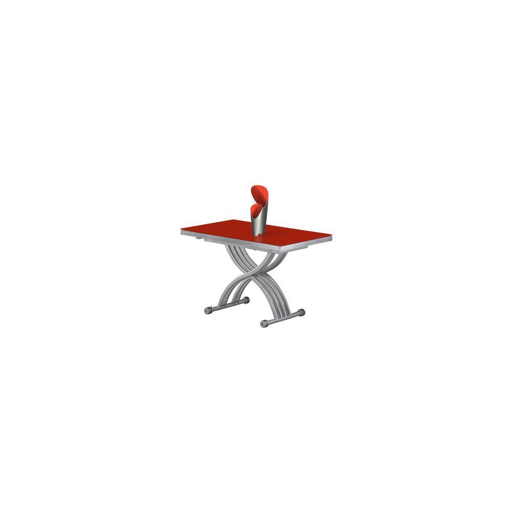 Giovanni Table basse relevable Zen verre rouge