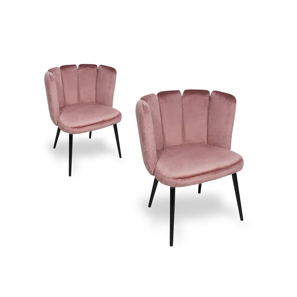 Meubler Design Chaise de salle à manger X2 Belair - Rose