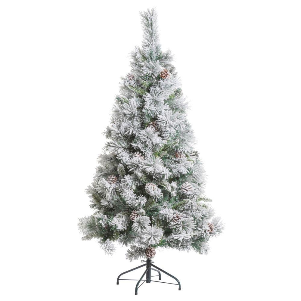 JJA Sapin de Noël artificiel enneigé Minnesota - H. 150 cm - Vert