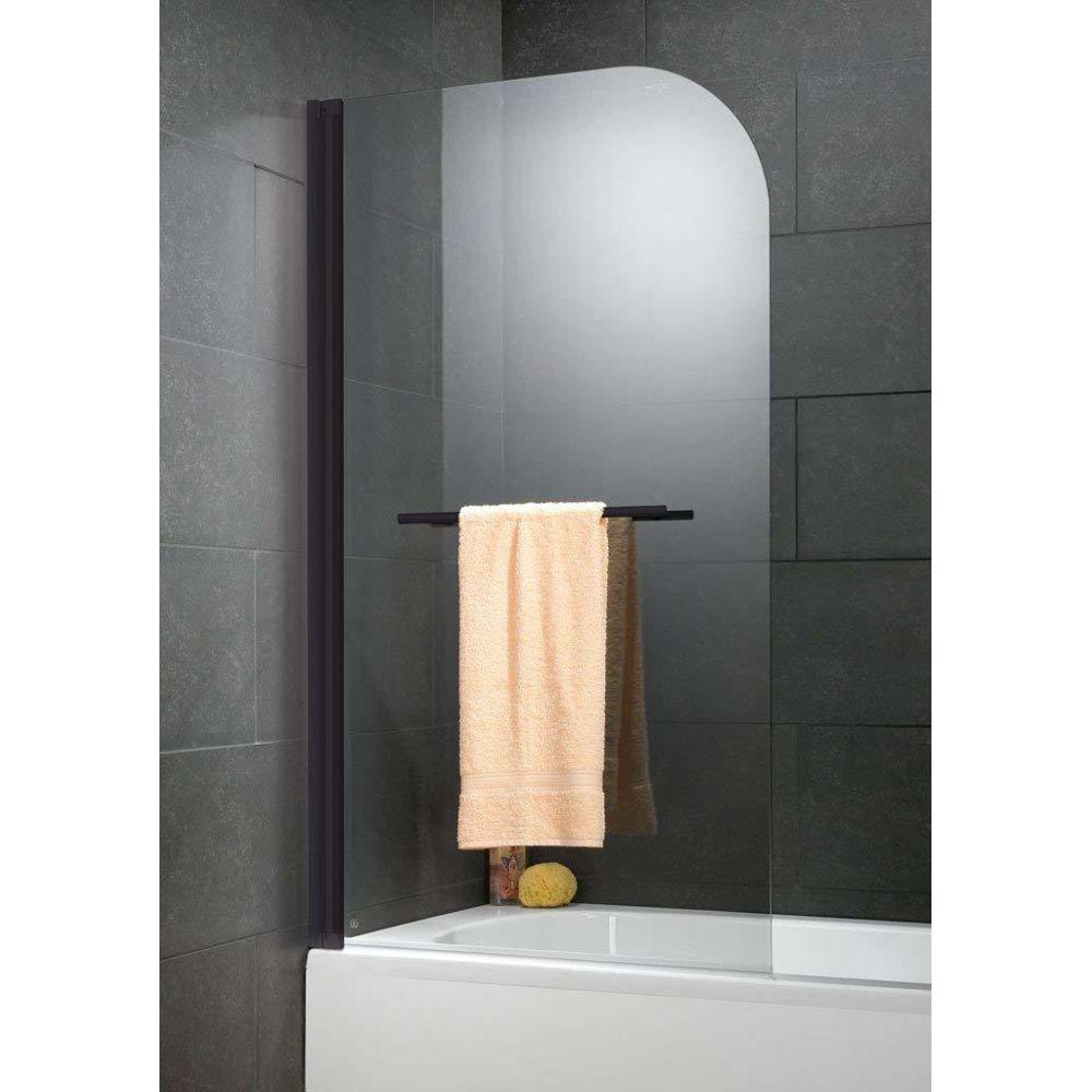 Schulte Schulte - Pare-baignoire 1 volet, 80 x 140 cm, verre transparent, traitement anti-calcaire, profilé noir, Capri deluxe