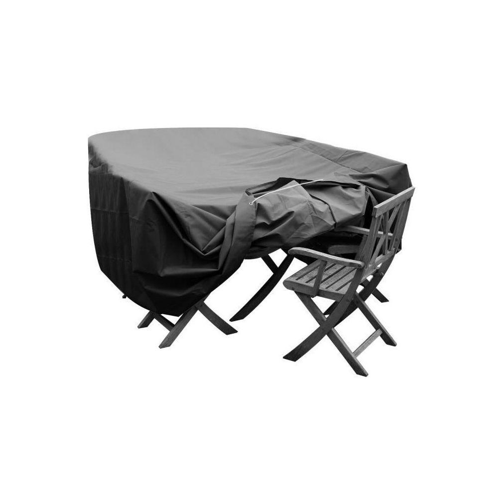 Green Club GREEN CLUB Housse de protection pour salon de jardin table + 6 a 8 chaises - 250x150x65 cm - Anthracite