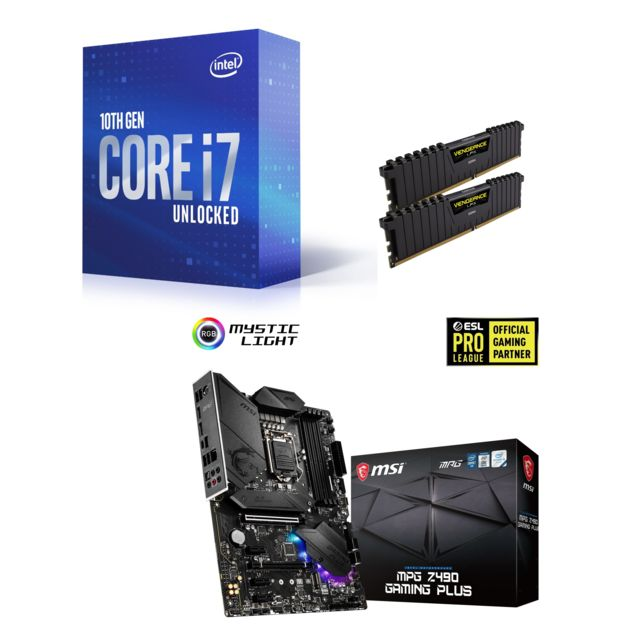 Intel - Core i7-10700K - 3.8/5.1 GHz + Vengeance LPX 16 Go (2 x 8 Go) - DDR4 3200 MHz Cas 16  + INTEL MPG Z490 GAMING PLUS - ATX - Kit d'évolution Intel