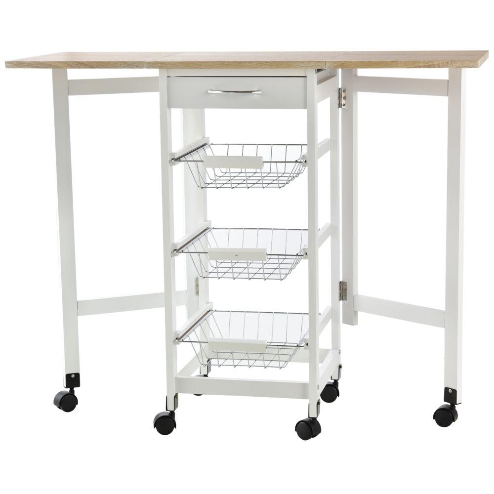 Homcom Chariot de service desserte de cuisine à roulettes multi-rangements 3 paniers métal + tiroir + rallonges MDF blanc chêne