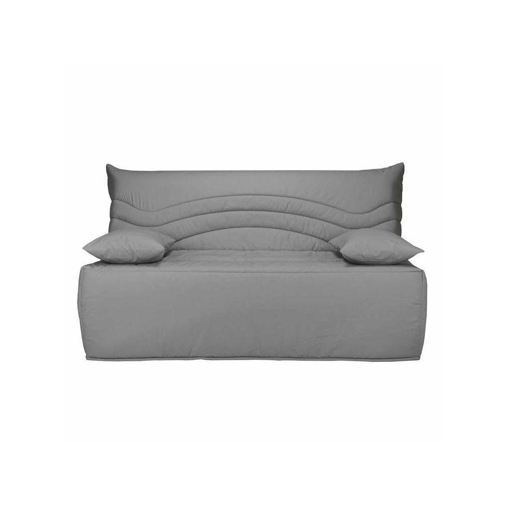 Les Essentiels By Dlm Banquette BZ housse en coton avec matelas Sofaconfort 12cm CARLOTA - Gris - 160x200cm