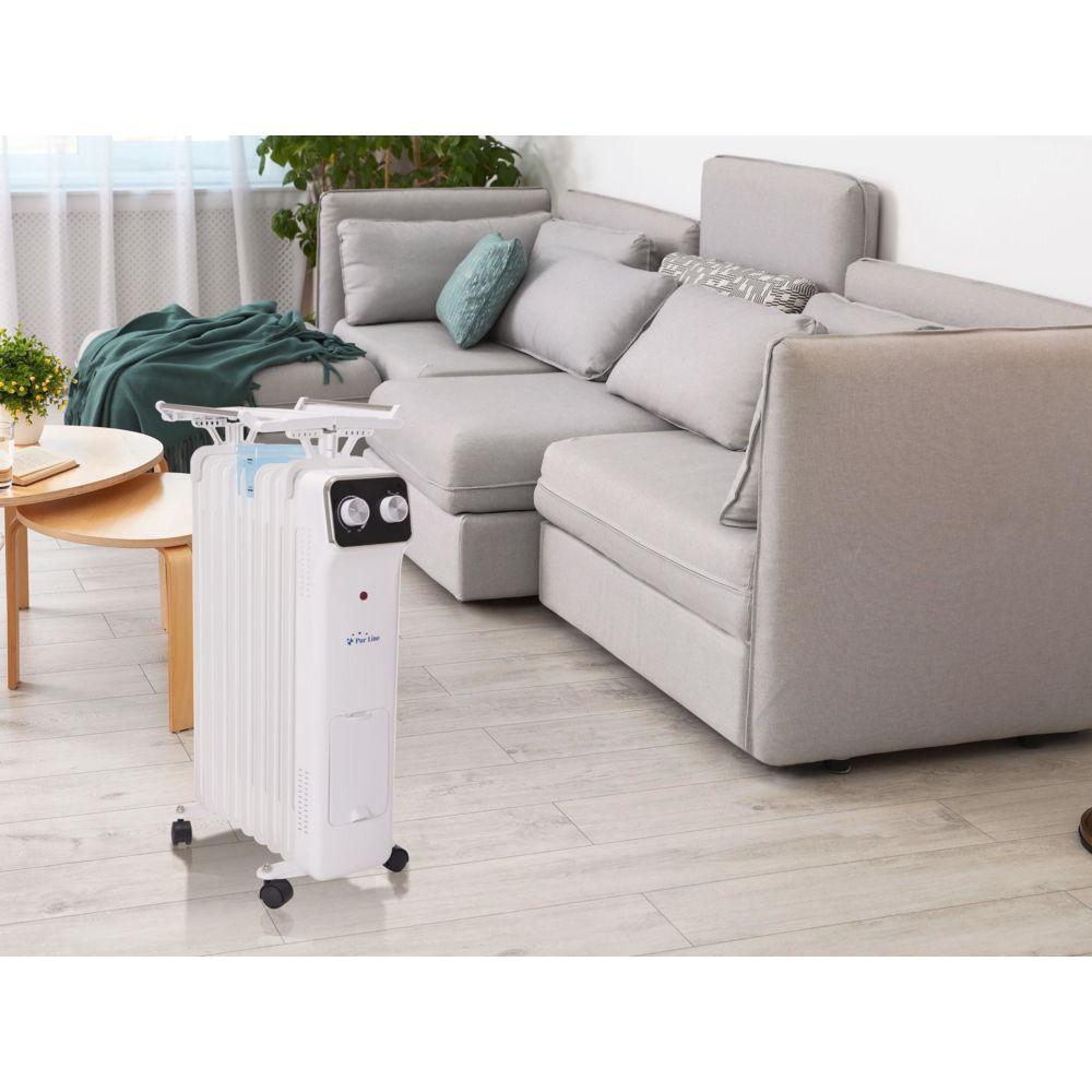 Purline radiateur à huile 9 éléments avec code à linge et récipient d'humidification 2000W blanc