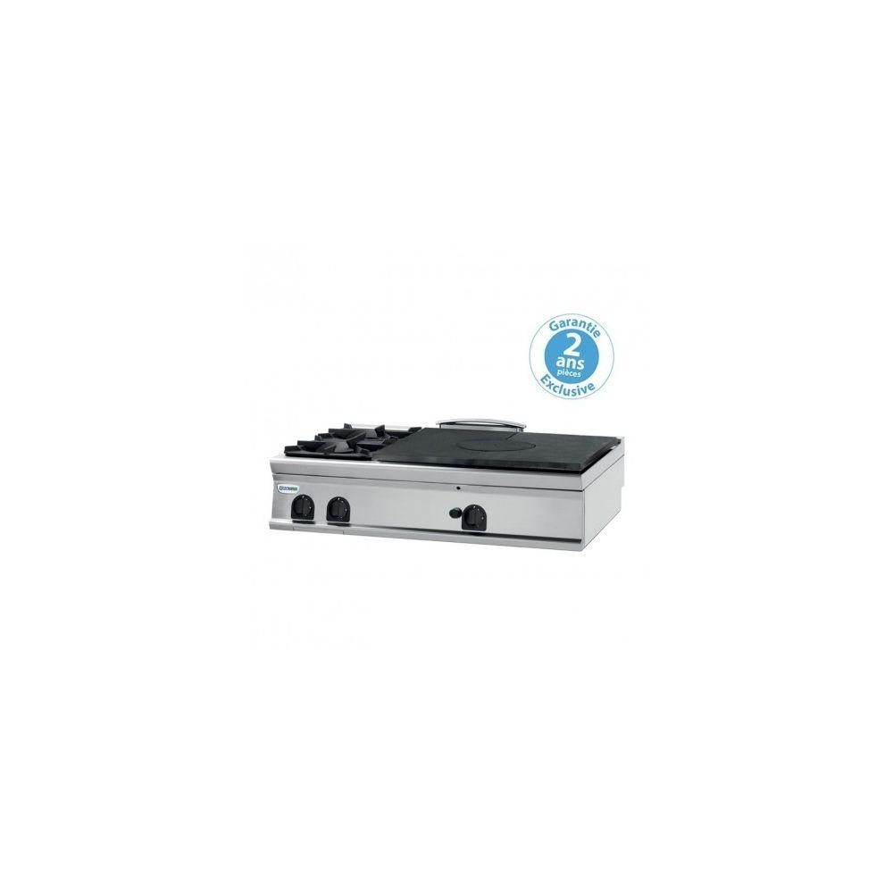 Materiel Chr Pro Plaque de cuisson - 2 feux vifs gaz et plaque coupe feu à poser - prof. 00 - Tecnoinox -
