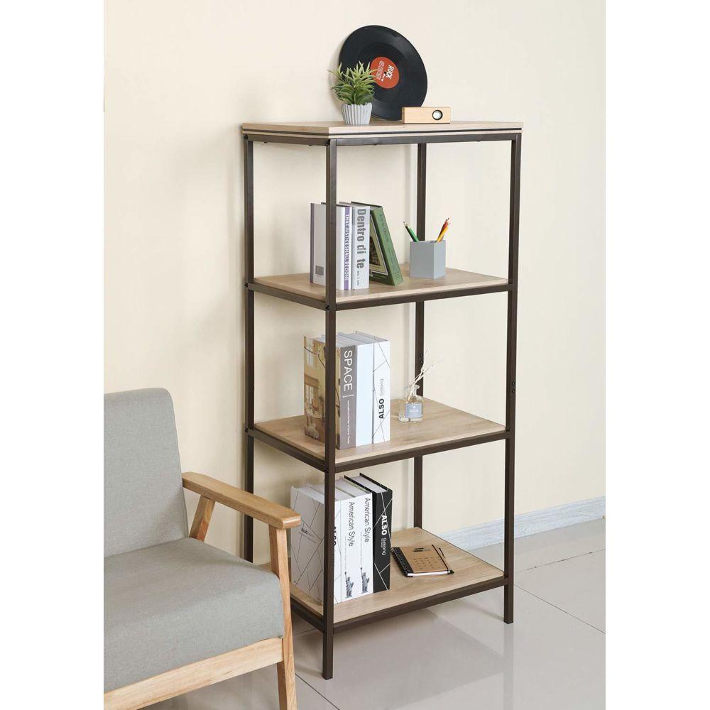 Sekey Home étagère à échelle, bibliothèque à 4 Niveaux | Bibliothèque, Etagère d'angle de Stockage, Salle de Bain, Salon, Meub