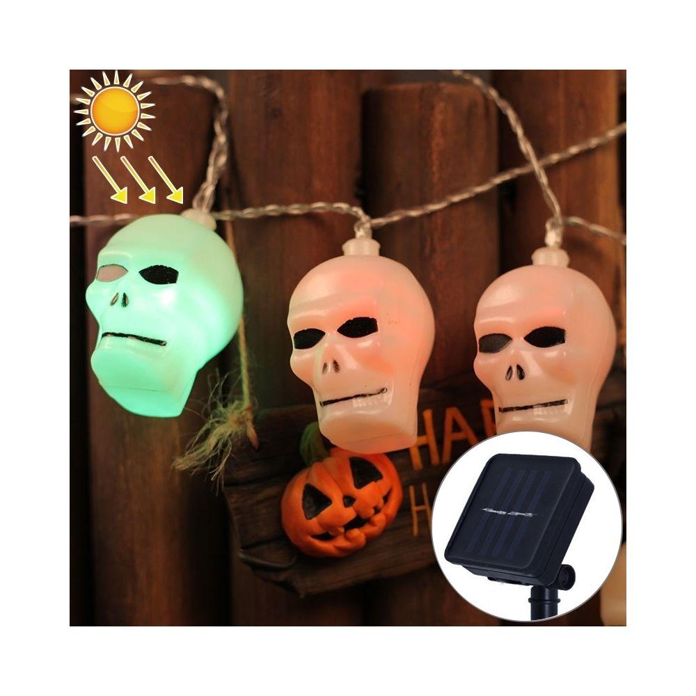 Wewoo 2.5m tête fantôme Design coloré Light Halloween série solaire alimenté LED chaîne de lumière, 20 LED Party Props fée déc