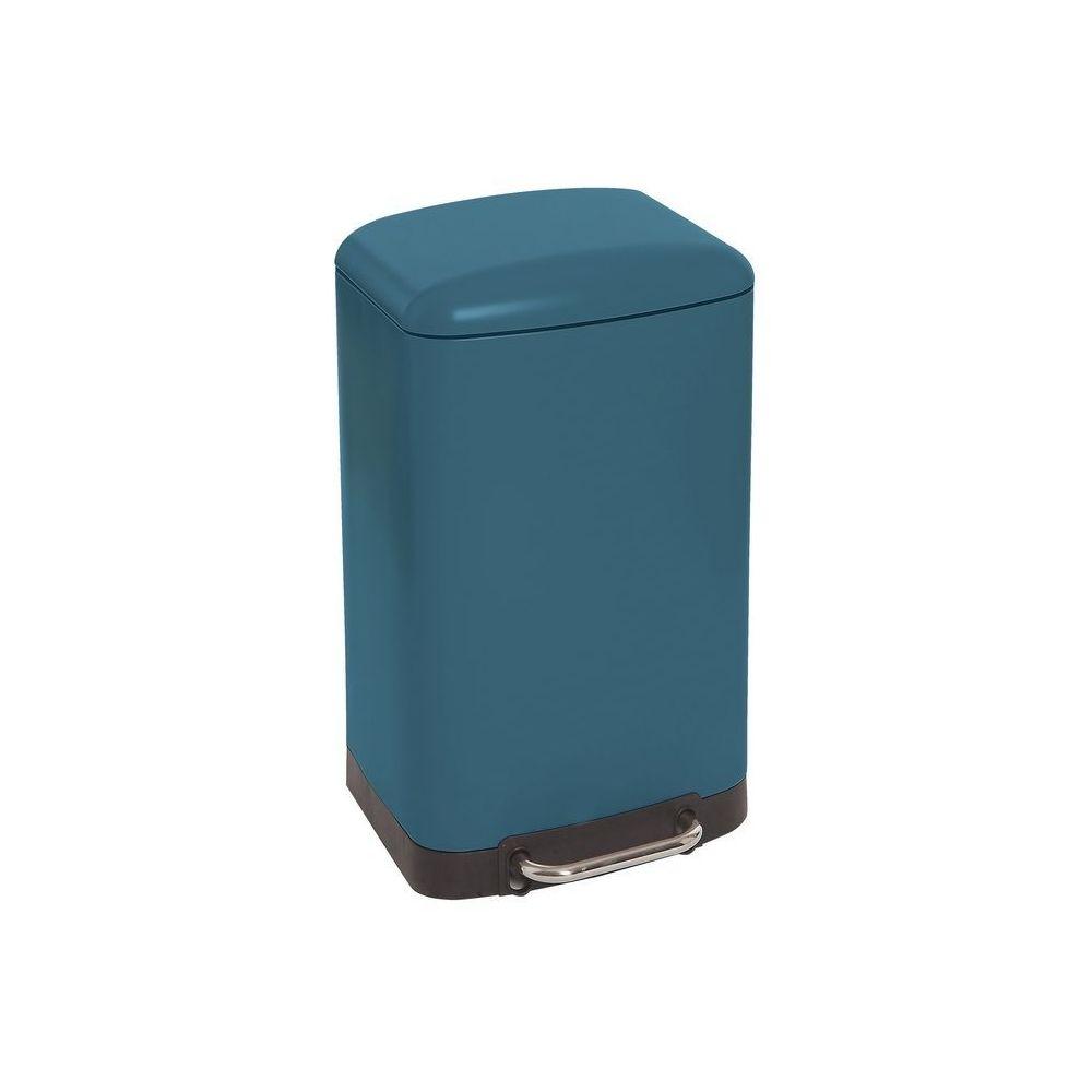 JJA Poubelle carrée en métal 30L bleu