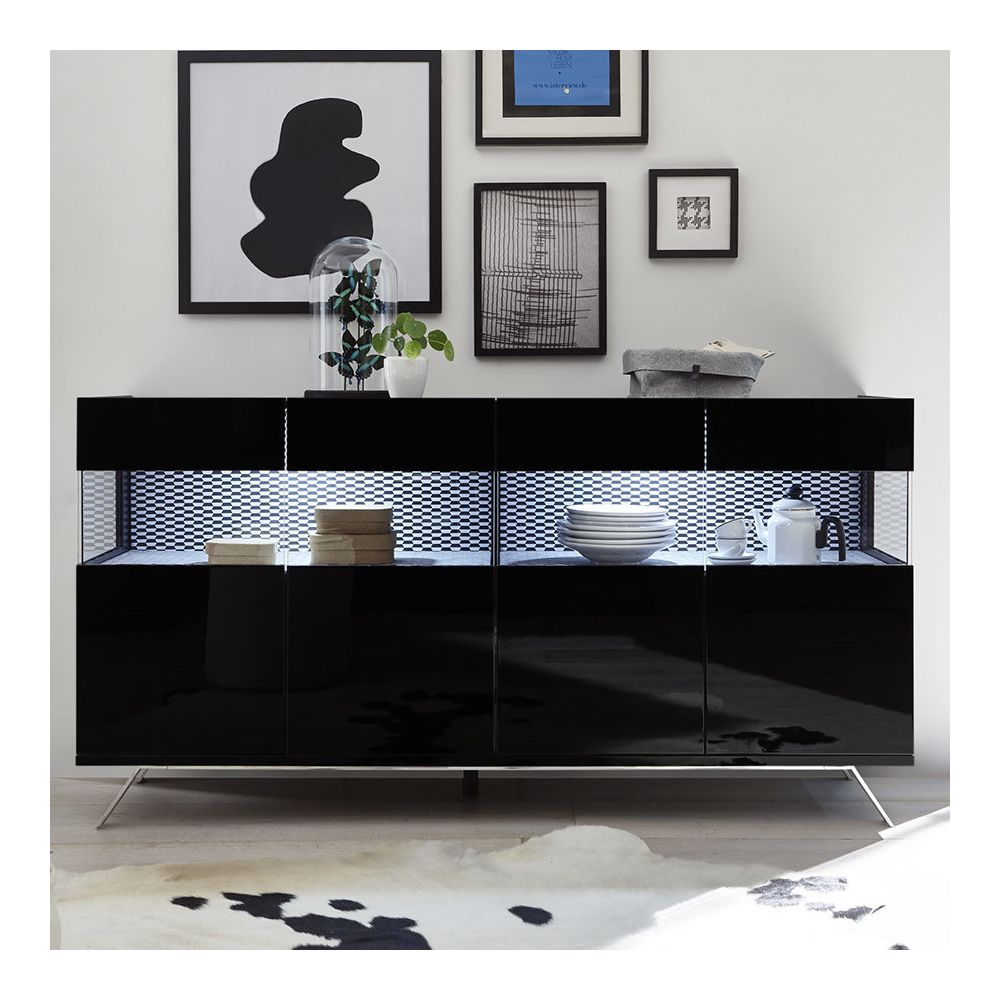 Sofamobili Bahut avec LED 180 cm design noir ROSINI 7