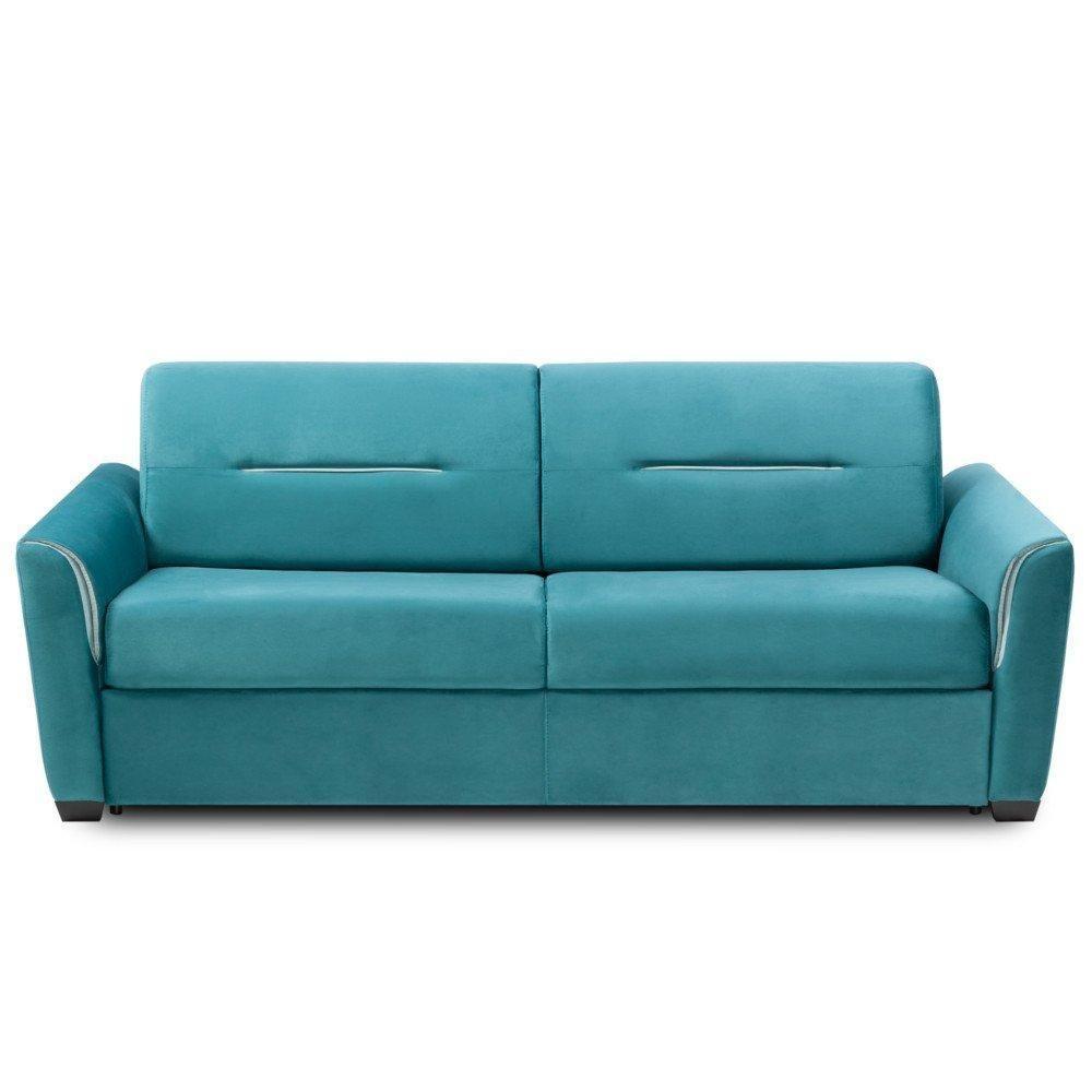 Inside 75 Canapé convertible rapido AMAZONE matelas 140cm comfort BULTEX® 14cm tweed bleu turquoise