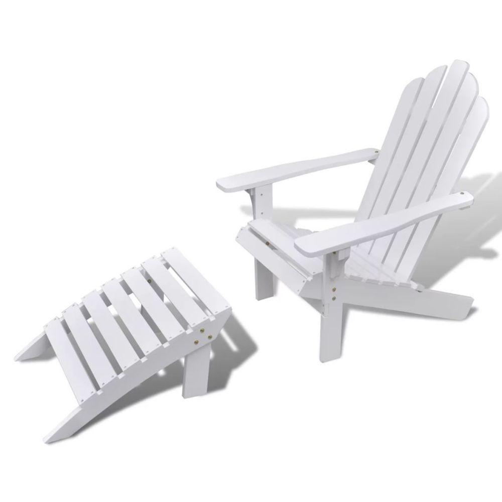 Vidaxl Chaise en bois avec repose-pied Blanc   Blanc