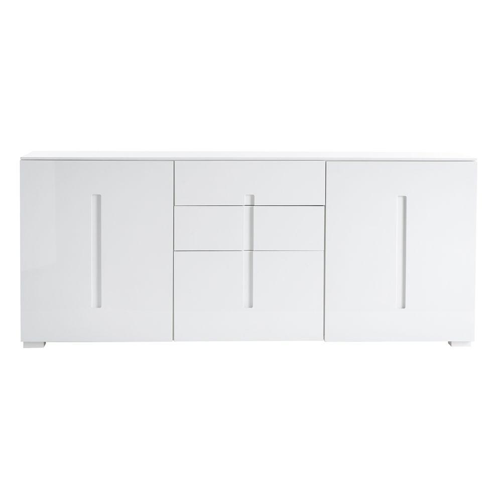 Miliboo Buffet design blanc laqué 2 portes 3 tiroirs TED