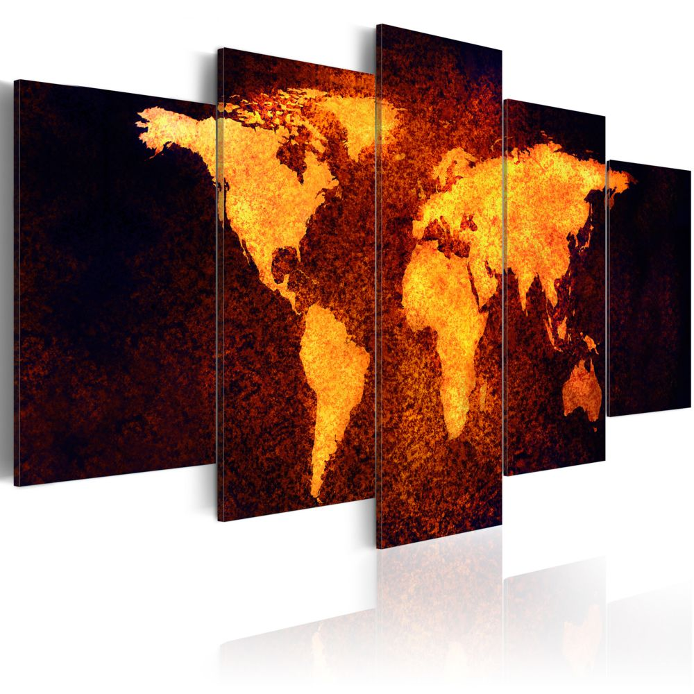 Declina Tableau - Carte du monde - Lave chaude