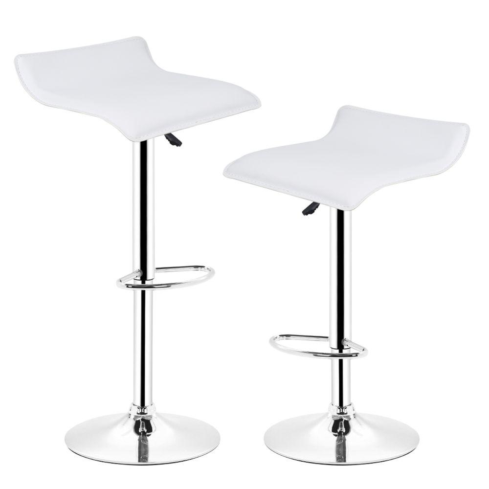 Ltppstore Lot de 2 Tabourets De Bar en PU style contemporain, rotation à 360 °, réglable en hauteur, BLANC