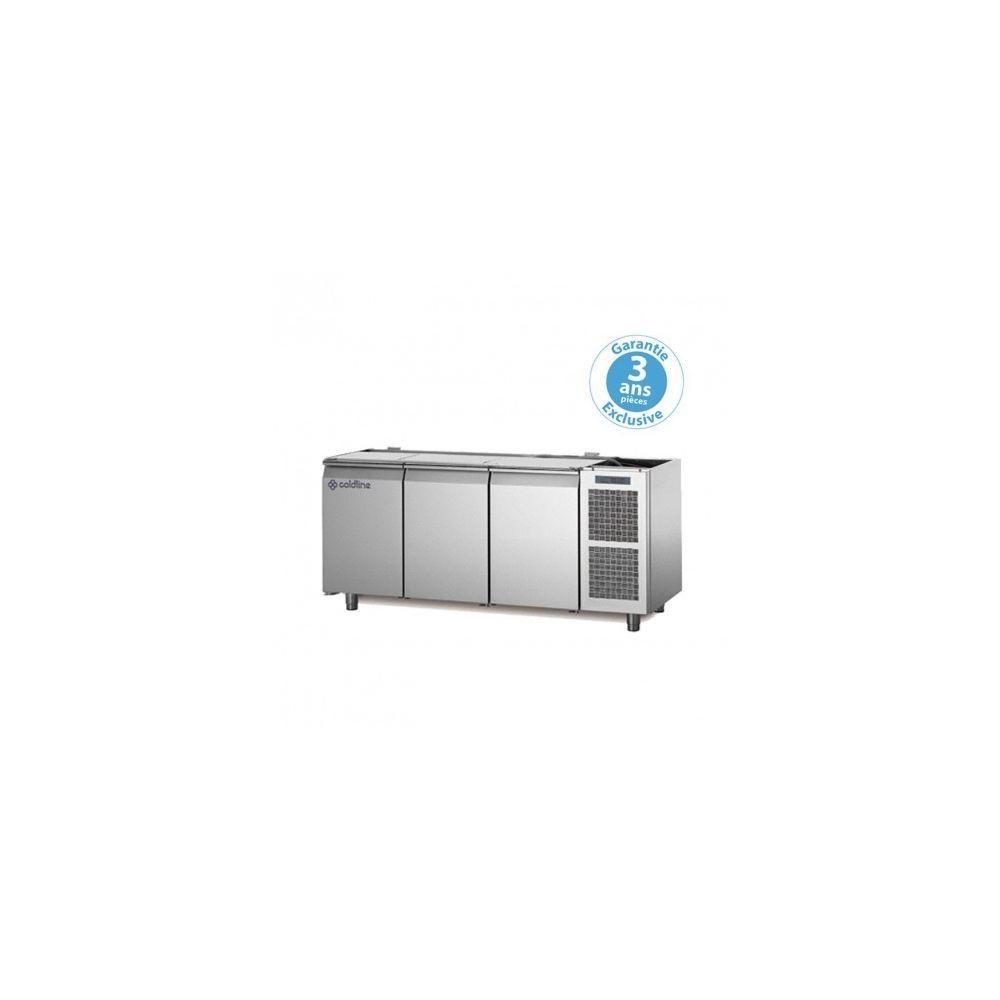 Materiel Chr Pro Table réfrigérée négative - groupe logé - 3 portes - 415 litres - profondeur 800 - 600 x 400 - sans dessus -