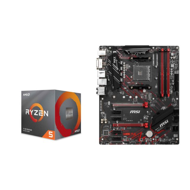 Amd - Ryzen 5 2600 Wraith Stealth Edition - 3,4/3,9 GHz + AMD B450 GAMING PLUS MAX - ATX - Kit d'évolution