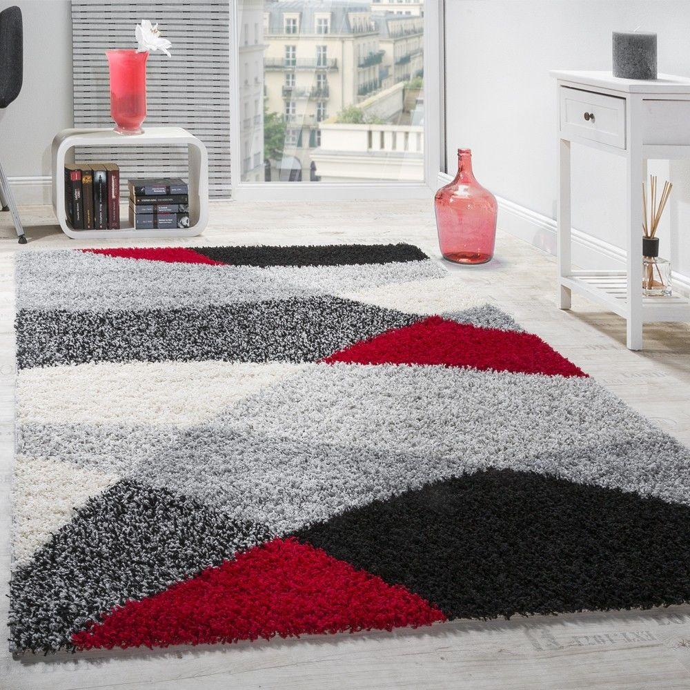 Paco-Home Tapis Shaggy Longues Mèches Hautes Motifs Gris Noir Blanc Rouge