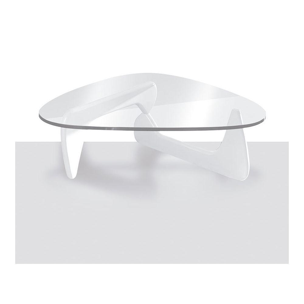 Sofamobili Table basse design blanc laqué et verre trempé GENEVE 2