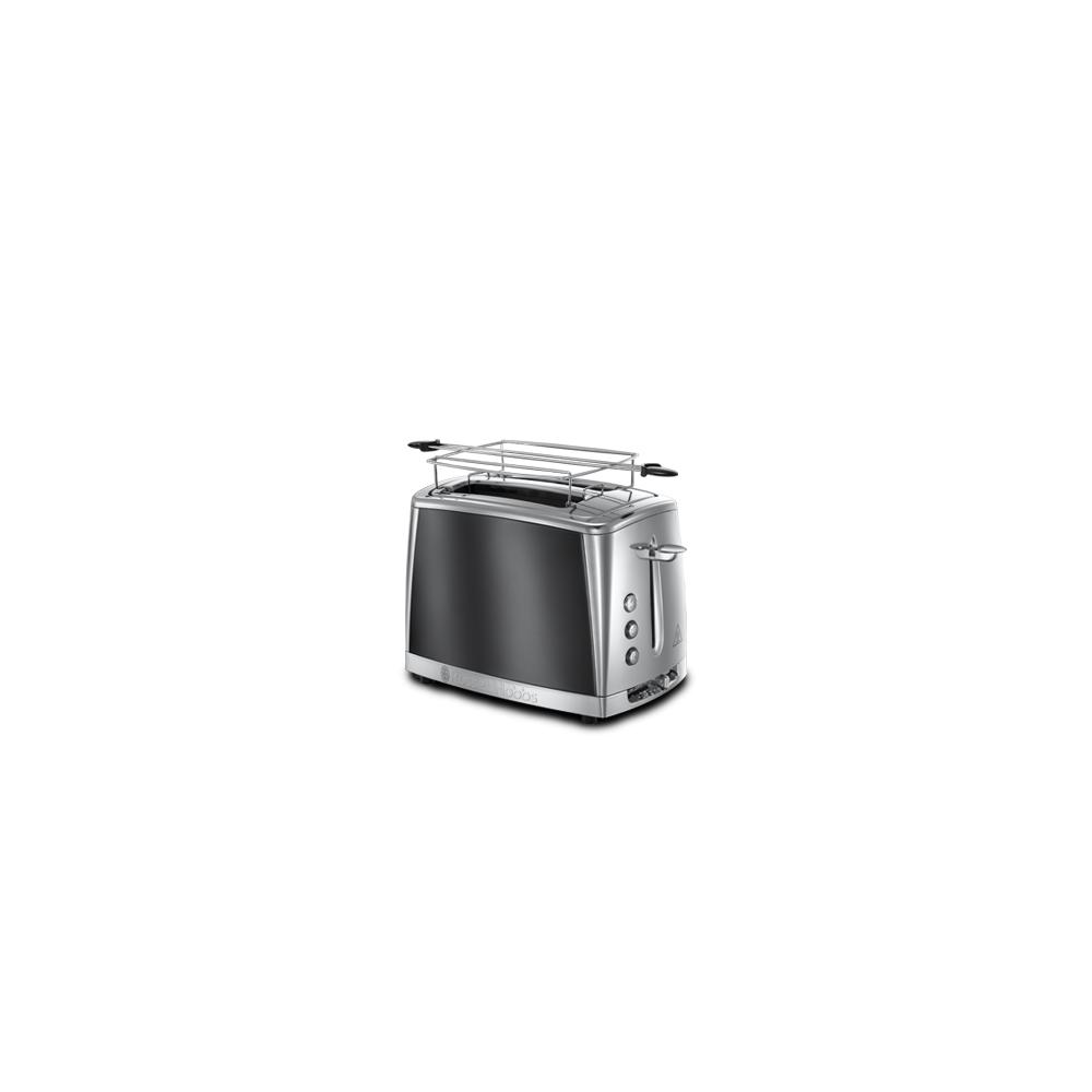 Russell Hobbs Toaster Luna Gris Clair de Lune - Technologie Fast Toast, 55% plus rapide, 2 fentes, réch. Viennoiserie