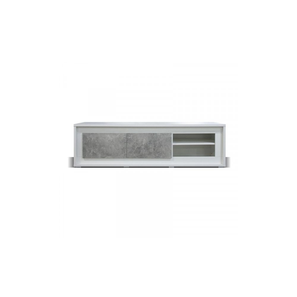 Dansmamaison Meuble TV 2 portes 2 niches Blanc/Béton ciré à LEDs - RODIO - L 170 x l 52 x H 49 cm