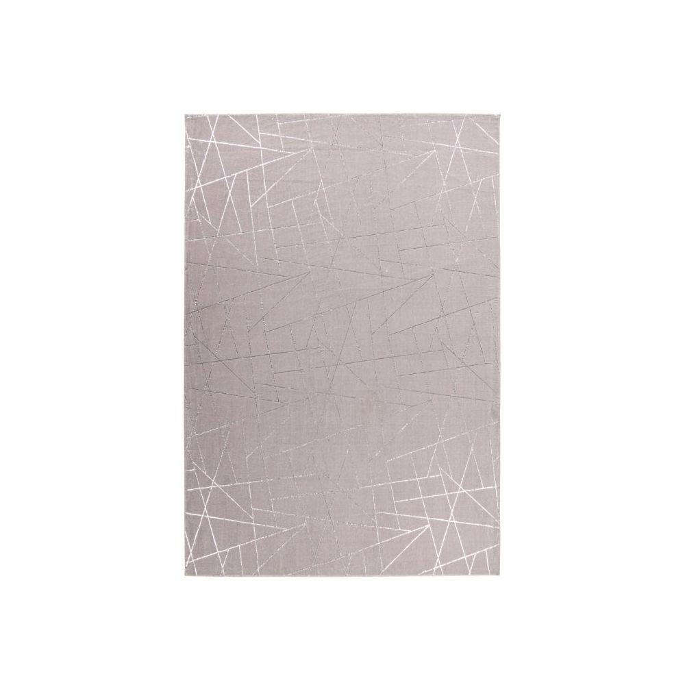 Paris Prix Tapis Géométrique à Poils Longs Bijou Taupe & Argent - 80 x 150 cm