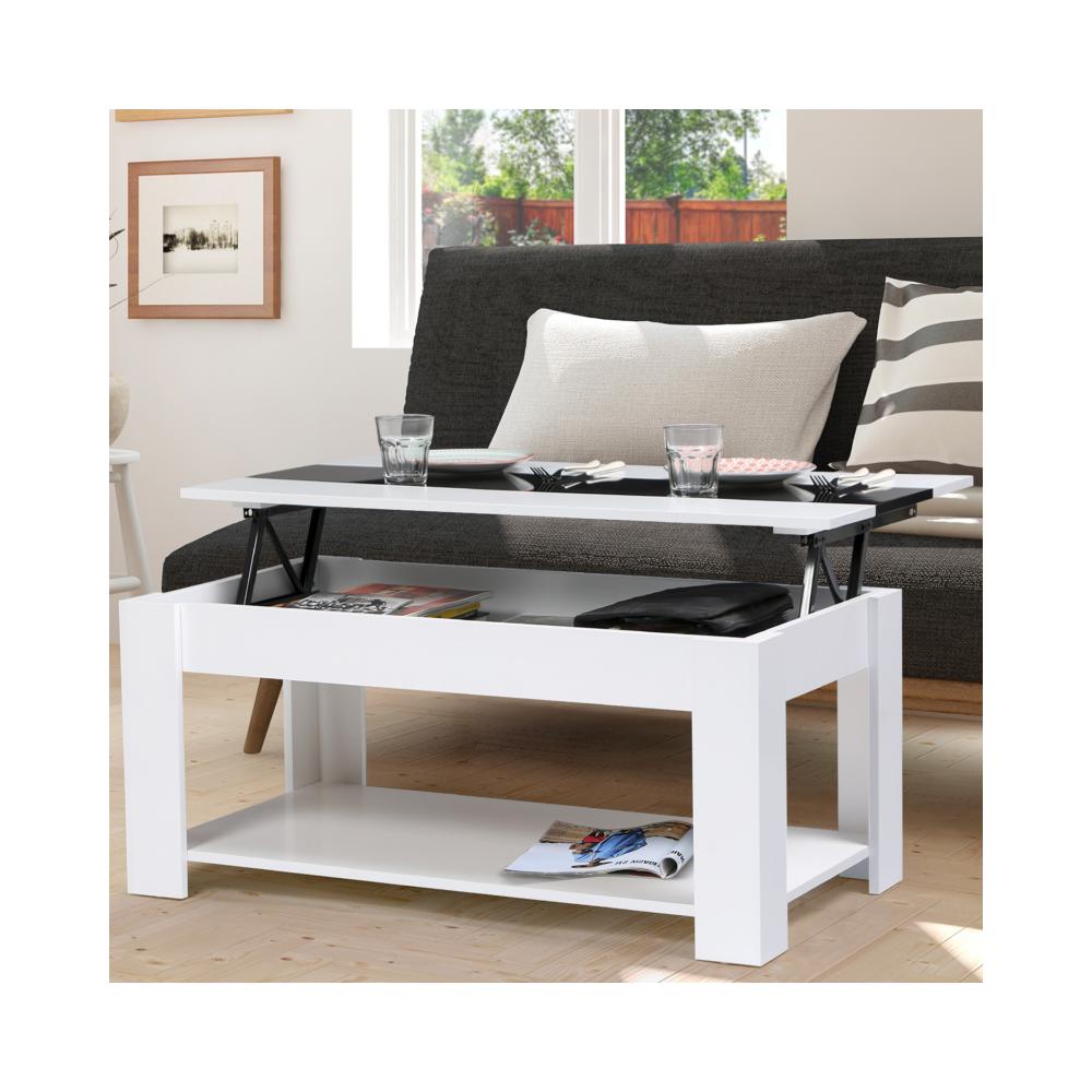 Idmarket Table basse contemporaine TAO plateau relevable bois blanc et noir