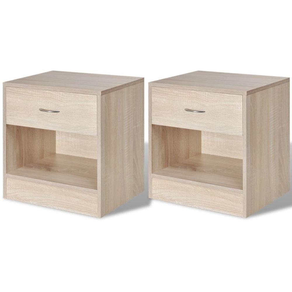 Vidaxl 2 tables de chevet avec tiroir Couleur en chêne | Brun