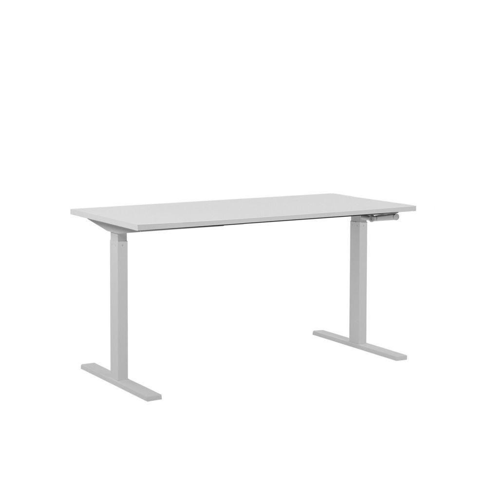 Beliani Beliani Table de bureau 160 x 72 cm blanche hauteur réglable manuellement DESTIN II - blanc