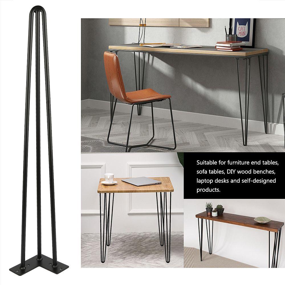 Jeobest Set 4 pcs Pieds de table en métal Support de meuble?Hairpin Pieds de table épingle à cheveux Noir (28 pouces)