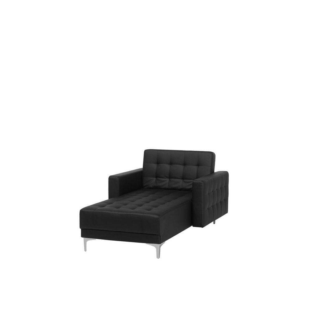 Beliani Beliani Chaise longue en simili-cuir noir ABERDEEN - noir
