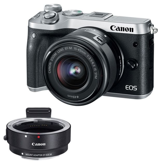 Canon - PACK CANON EOS M6 + 15-45 SILVER + Bague d'adaptation - Pack appareil photo