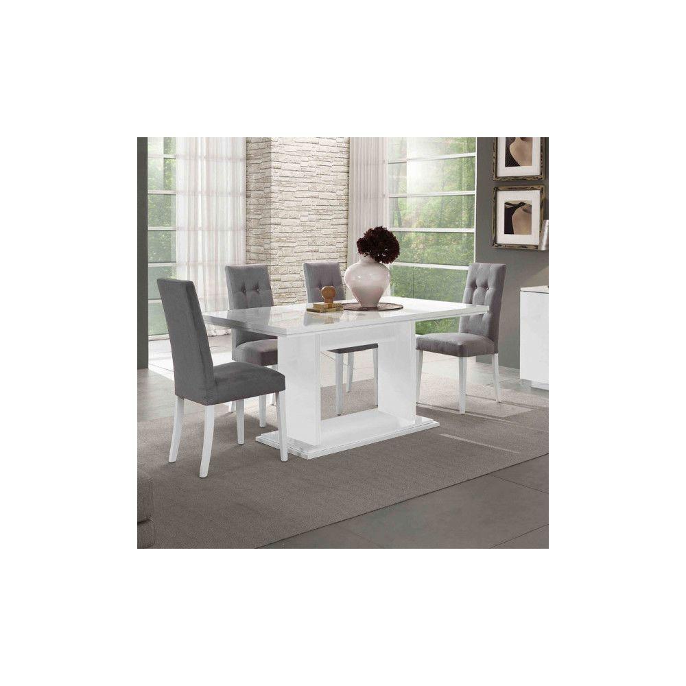 Dansmamaison Table de repas rectangulaire laqué Blanc - POTIRI - L 160 x l 90 x H 77 cm