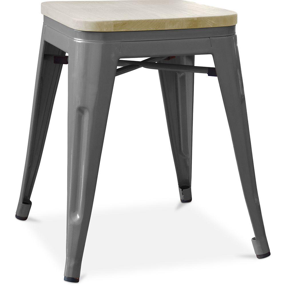 Privatefloor Tabouret style Tolix - 46 cm - Métal et bois clair