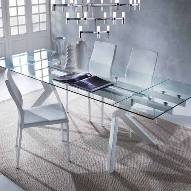 Nouvomeuble - Table en verre extensible taupe design AURELIA - table verre extensible