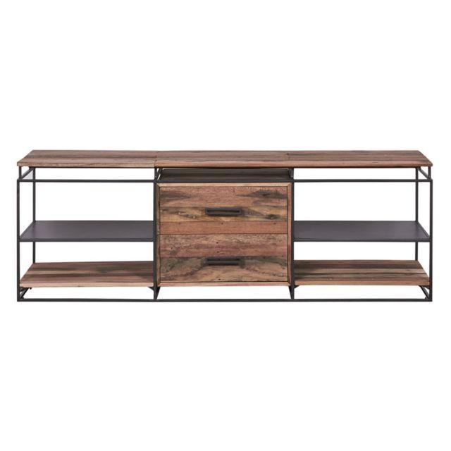 meuble tv fer bois 2 tiroirs 4 niches phoenix
