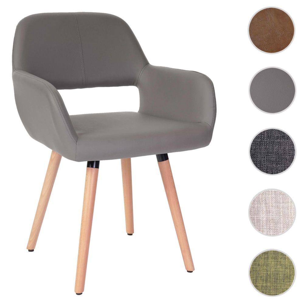 Mendler Chaise de salle à manger Altena II, fauteuil, design rétro des années 50 ~ similicuir, taupe