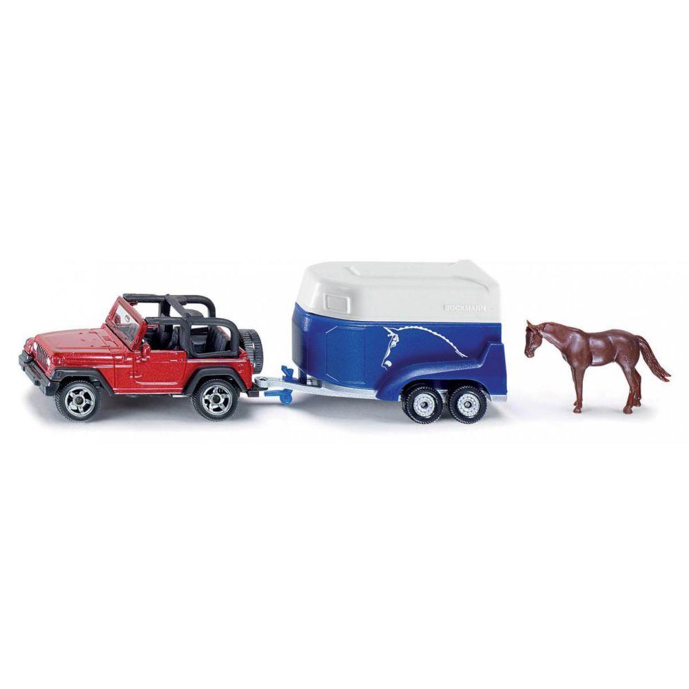 SIKU Jeep avec remorque à chevaux