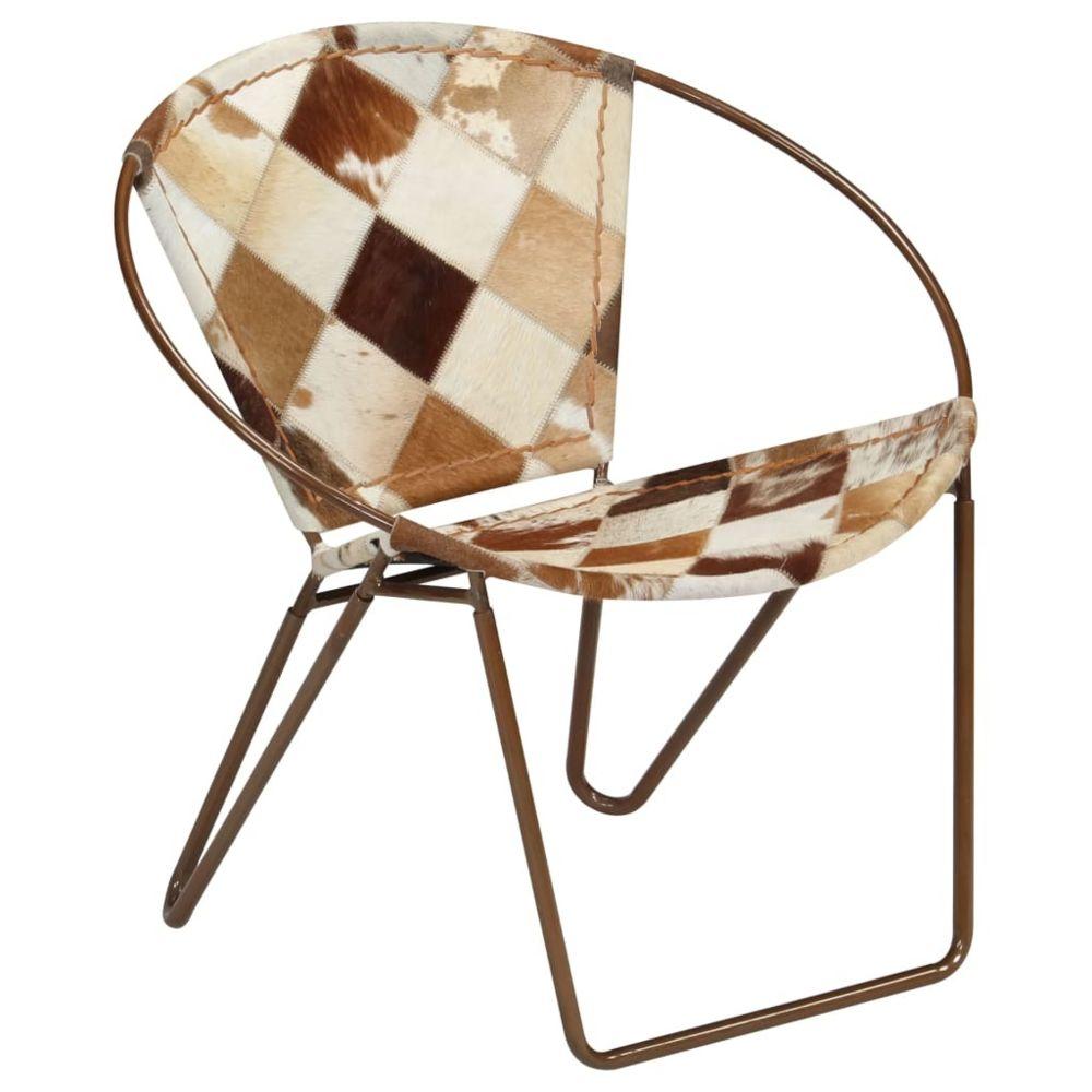 Vidaxl Chaise de relaxation Cuir véritable 69x69x69 cm Losanges Marron   Brun - Fauteuils club, f inclinables et chauffeuses li