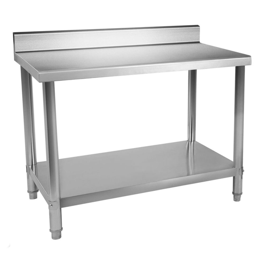 Helloshop26 Table de travail professionnelle acier inox pieds ajustable avec rebord 120 x 60 cm