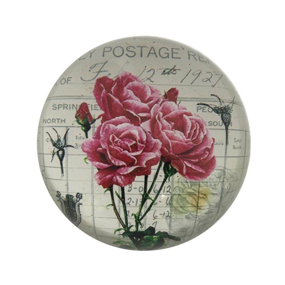 L'Originale Deco   Sulfure Presse Papier Rose en Verre Motif Fleur ...