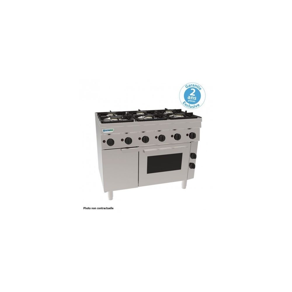 Materiel Chr Pro Piano de cuisson 4 feux sur four gaz statique - grilles 400 x 330 mm - gamme 600 - Tecnoinox -
