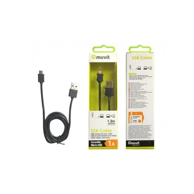 Muvit - Muvit Cable Round Charge & Synchro Micro Usb 1m 1a Black - Appcessoires Muvit