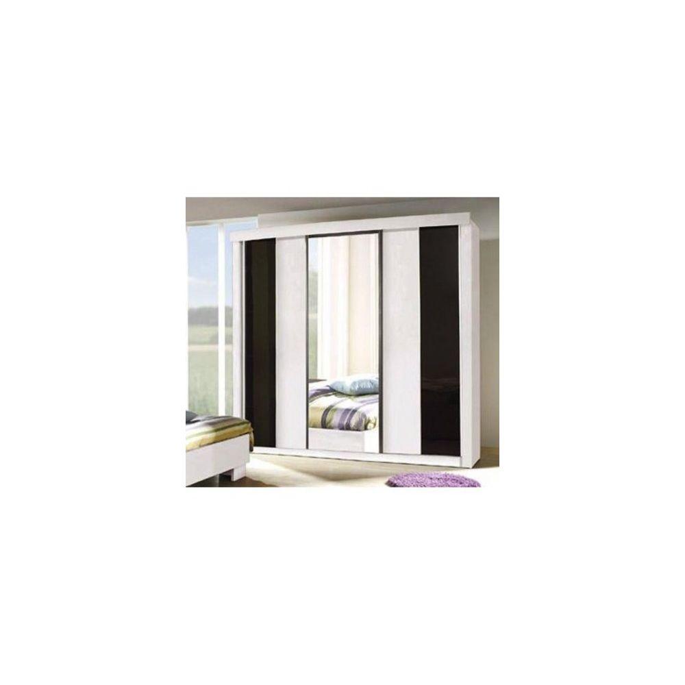 Price Factory Armoire, garde robe DUBLIN trois portes coulissantes. Coloris noir et blanc brillant. Meuble pour chambre à coucher.