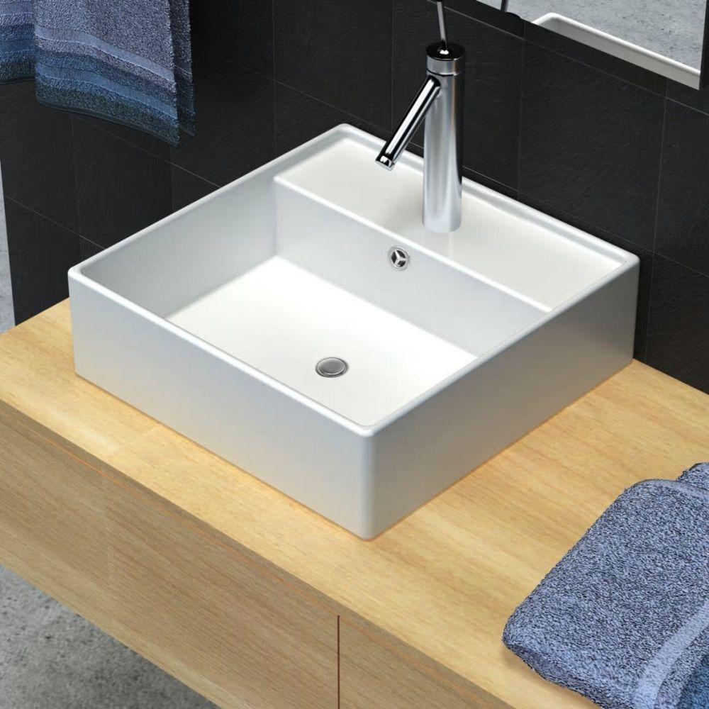 Vidaxl Luxueuse vasque céramique carrée avec trop plein 41 x 41 cm   Blanc