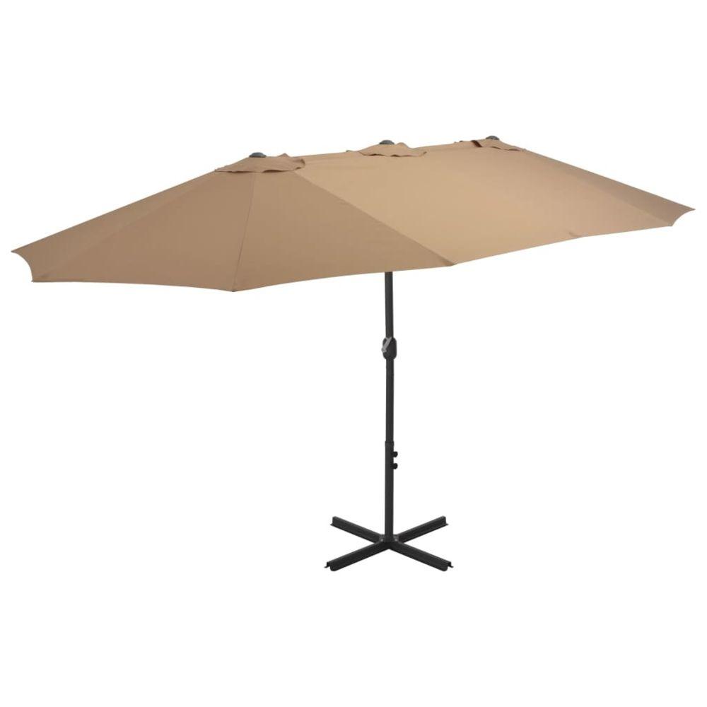 Uco UCO Parasol d'extérieur et poteau en aluminium 460 x 270 cm Taupe