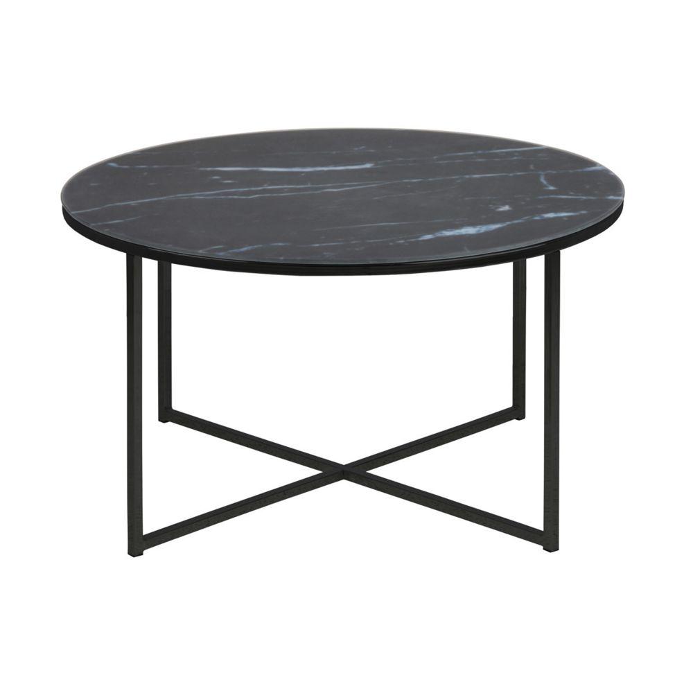 Miliboo Table basse ronde effet marbre noir bleuté D80 cm ALCINO